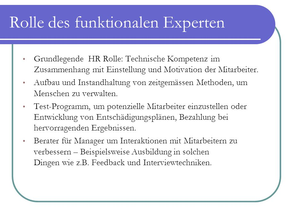 Rolle des funktionalen Experten