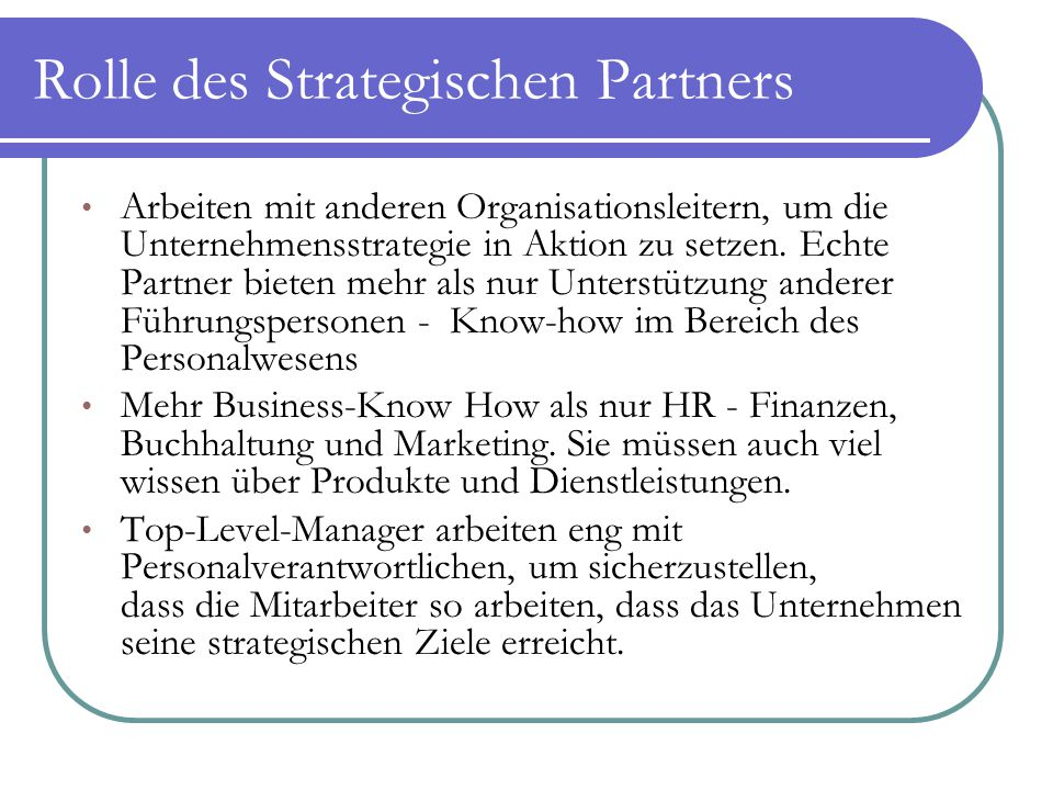Rolle des Strategischen Partners