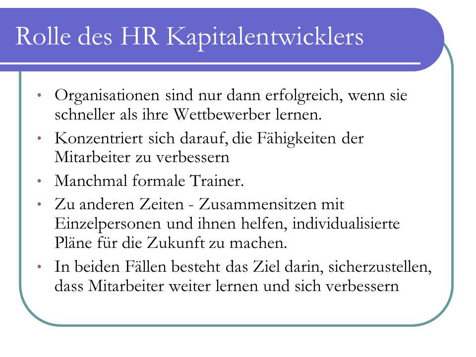 Rolle des HR Kapitalentwicklers