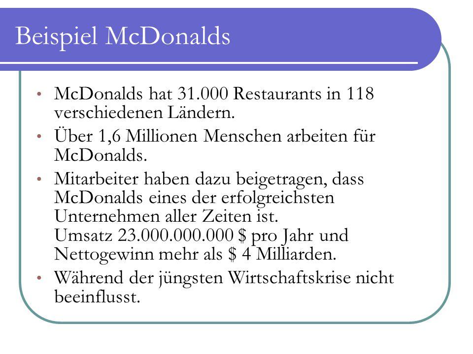 Beispiel McDonalds McDonalds hat 31.000 Restaurants in 118 verschiedenen Ländern. Über 1,6 Millionen Menschen arbeiten für McDonalds.