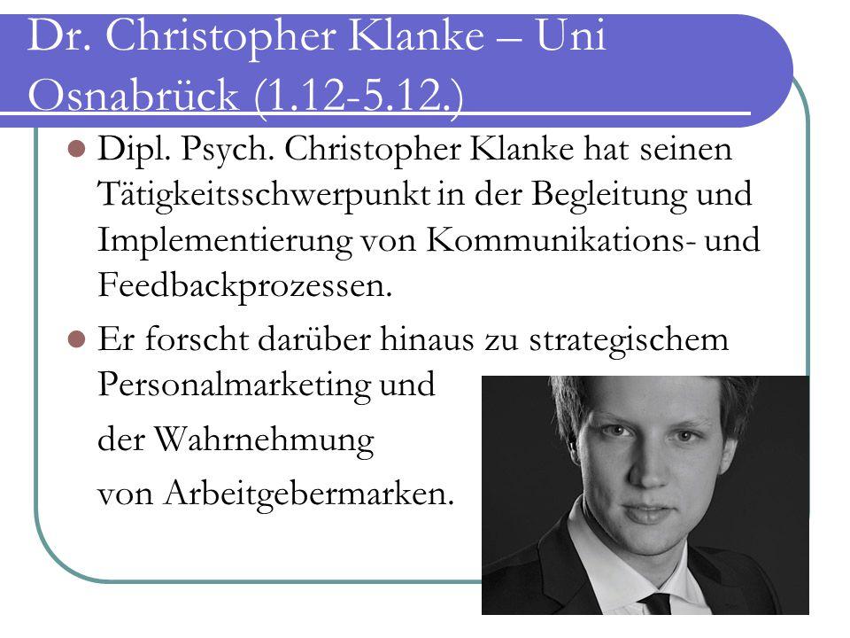 Dr. Christopher Klanke – Uni Osnabrück (1.12-5.12.)