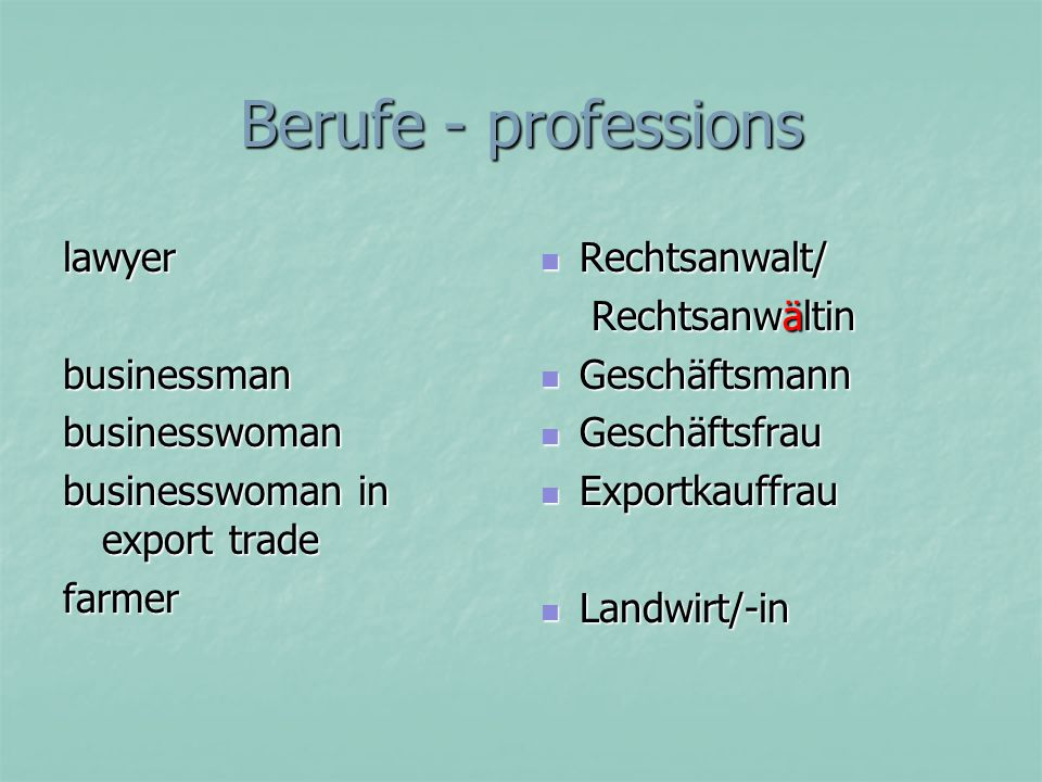 Berufe - professions lawyer businessman businesswoman
