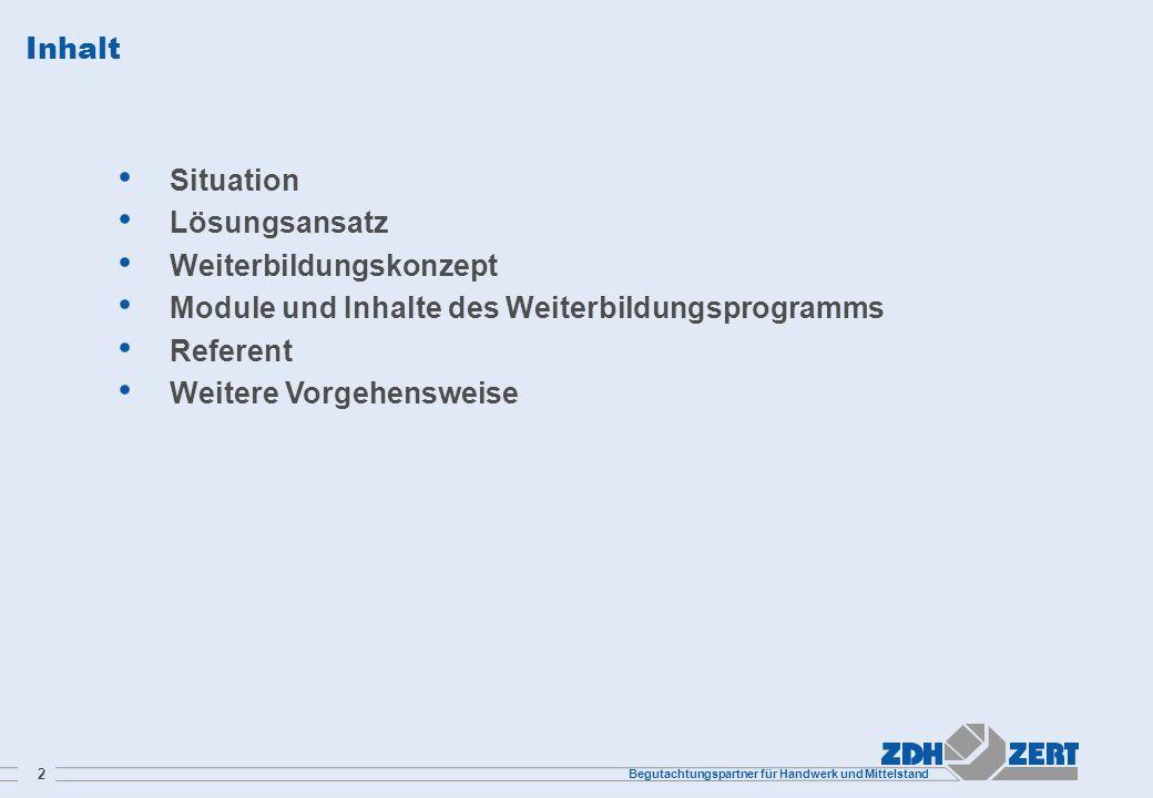 Inhalt Situation. Lösungsansatz. Weiterbildungskonzept. Module und Inhalte des Weiterbildungsprogramms.