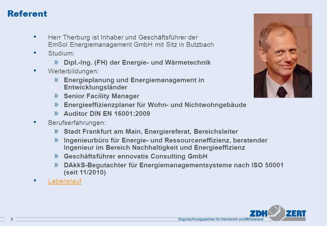Referent Herr Therburg ist Inhaber und Geschäftsführer der EmSol Energiemanagement GmbH mit Sitz in Butzbach.