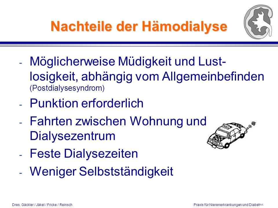 Nachteile der Hämodialyse