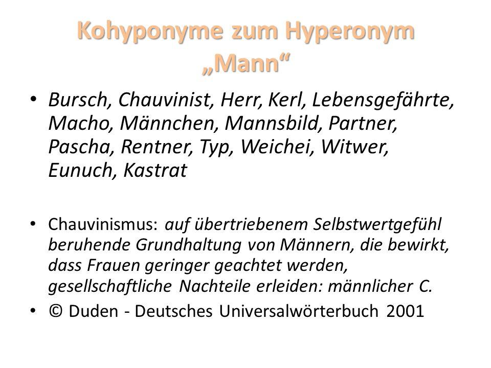 "Kohyponyme zum Hyperonym ""Mann"
