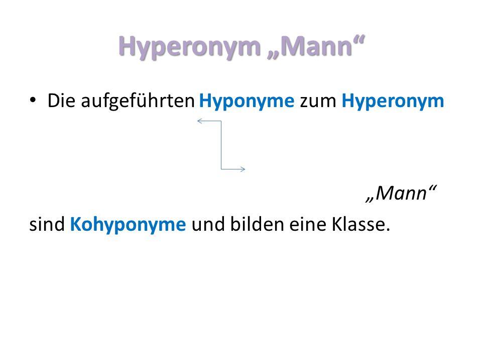 """Hyperonym """"Mann Die aufgeführten Hyponyme zum Hyperonym """"Mann"""
