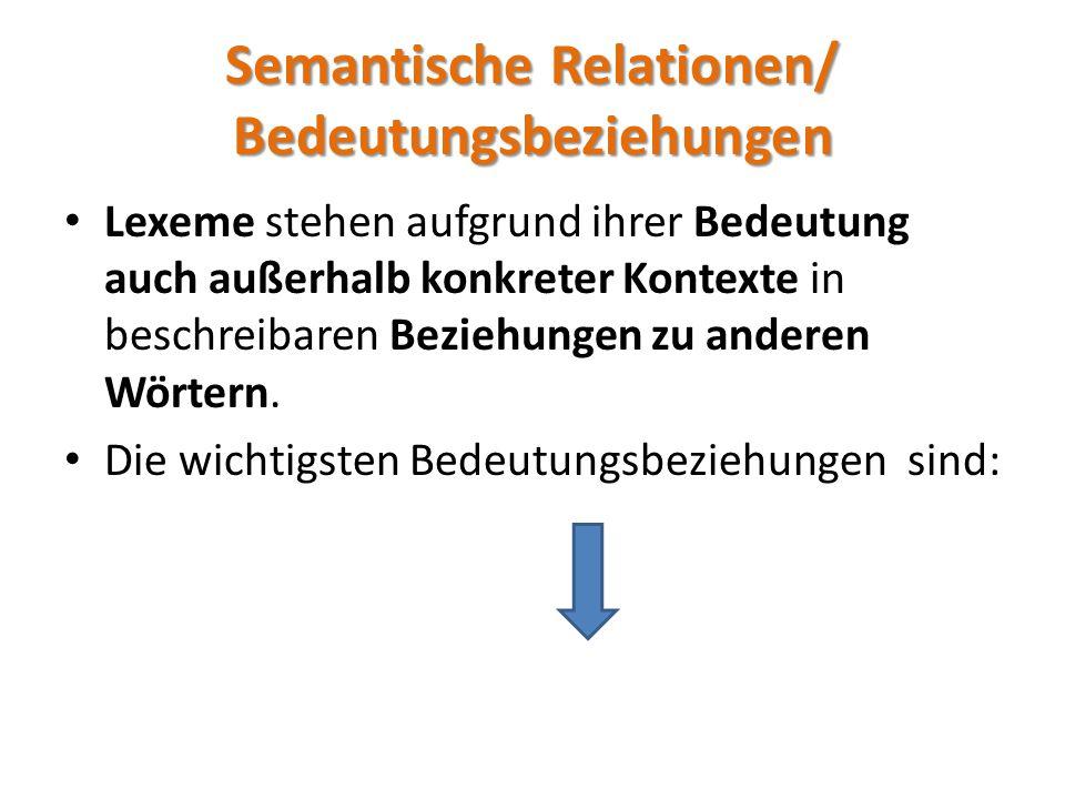 Semantische Relationen/ Bedeutungsbeziehungen