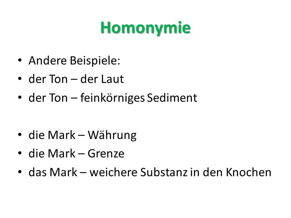 Homonymie Andere Beispiele: der Ton – der Laut