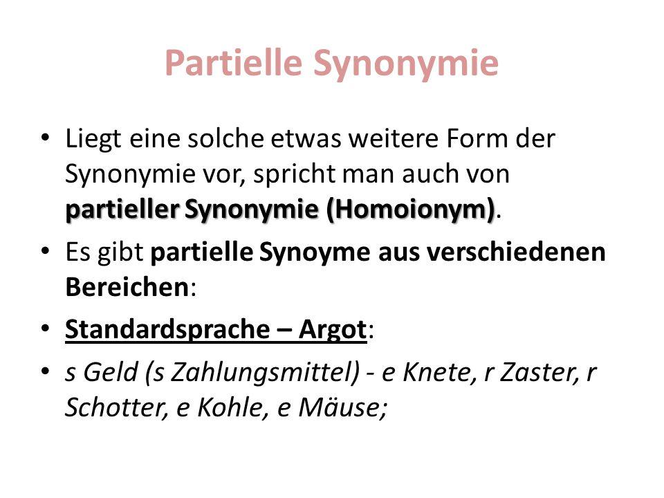 Partielle Synonymie Liegt eine solche etwas weitere Form der Synonymie vor, spricht man auch von partieller Synonymie (Homoionym).