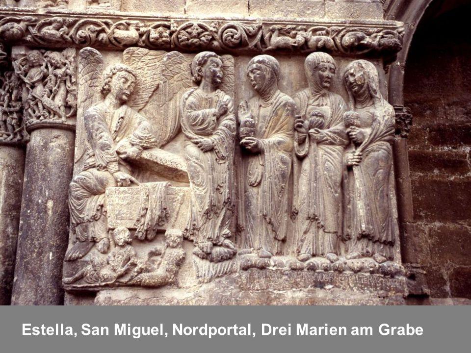 Estella, San Miguel, Nordportal, Drei Marien am Grabe