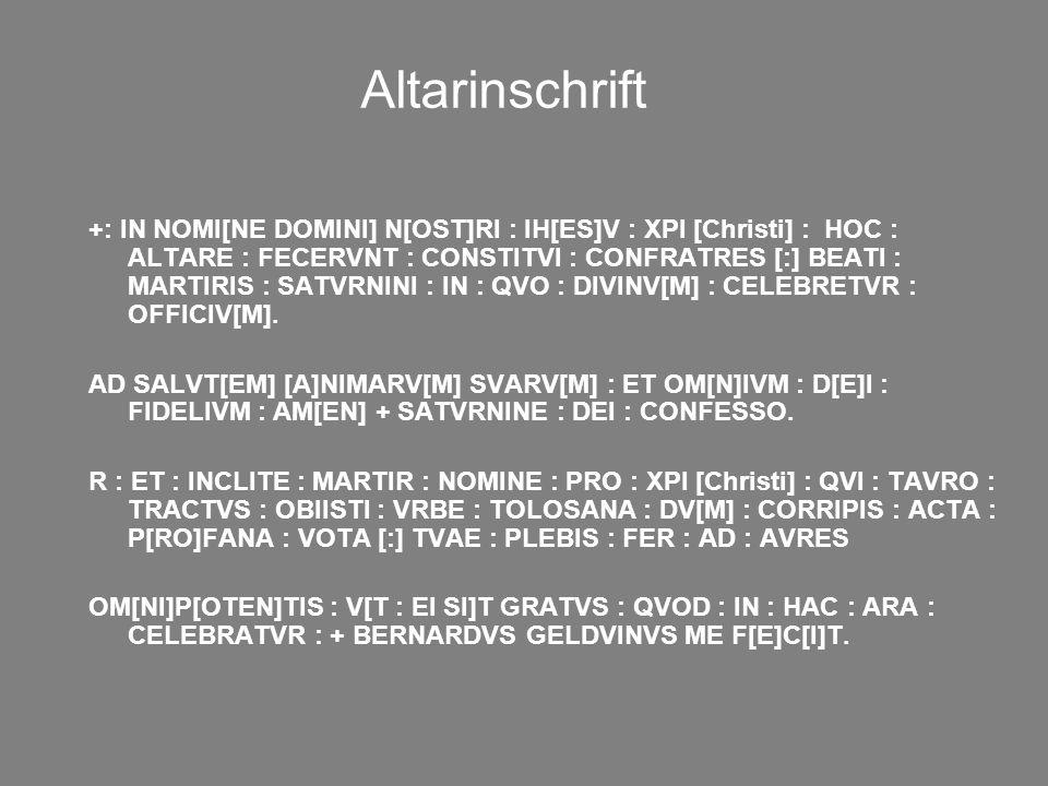 Altarinschrift
