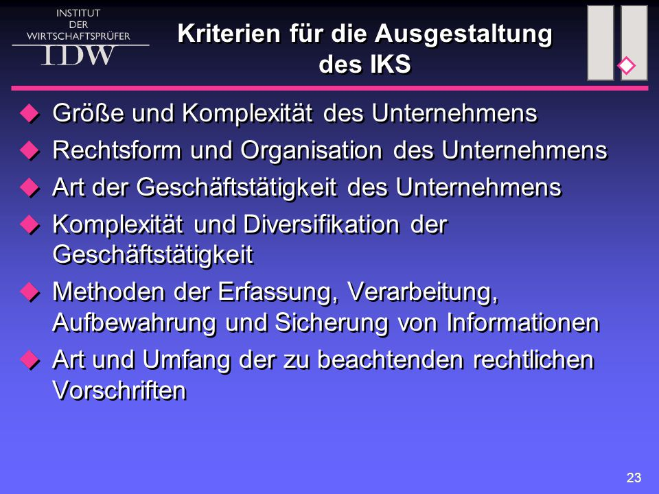 Kriterien für die Ausgestaltung des IKS