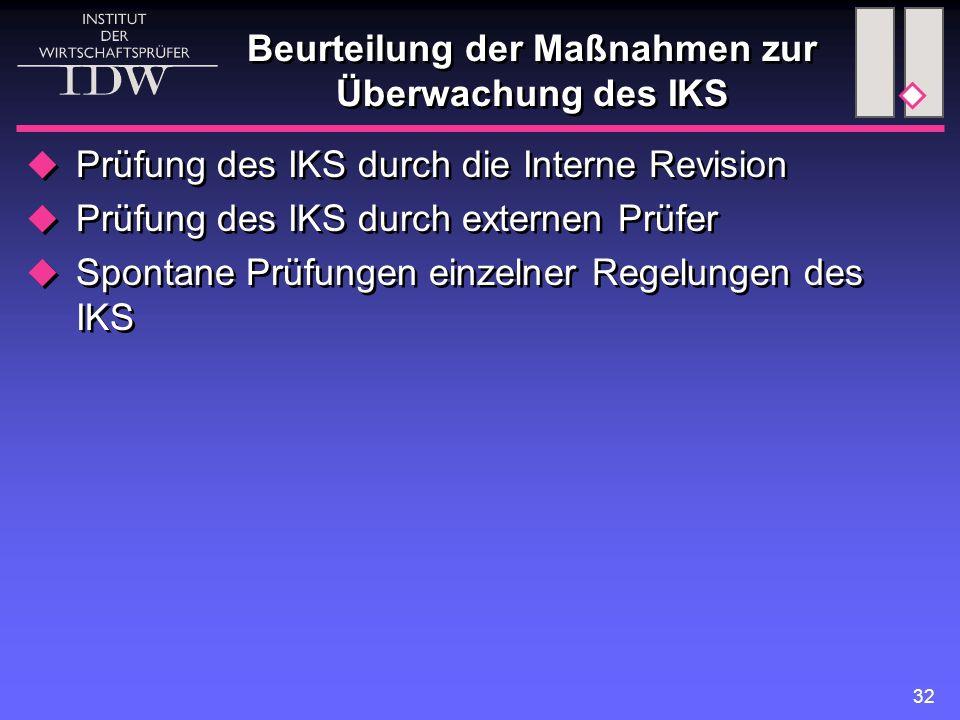 Beurteilung der Maßnahmen zur Überwachung des IKS