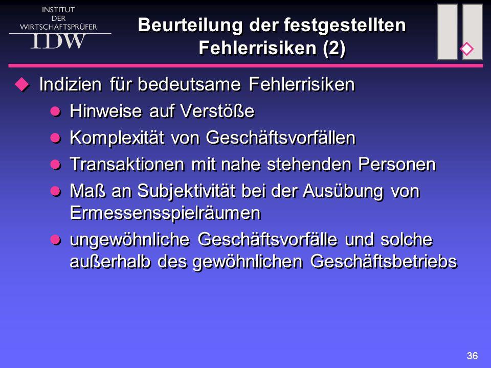 Beurteilung der festgestellten Fehlerrisiken (2)