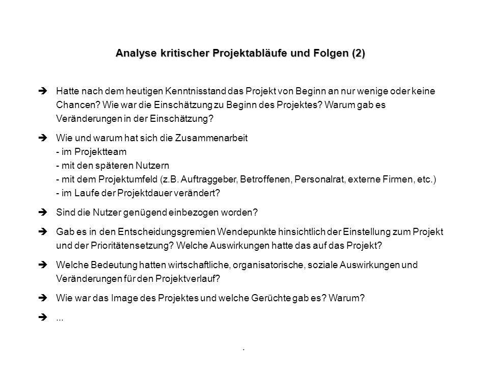 Analyse kritischer Projektabläufe und Folgen (2)