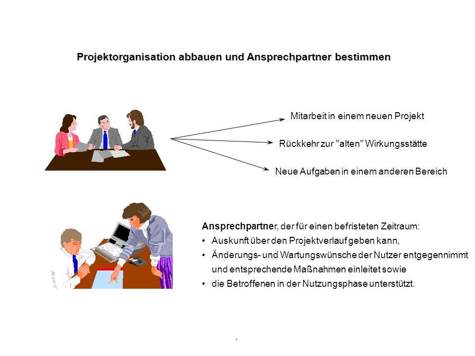 Projektorganisation abbauen und Ansprechpartner bestimmen