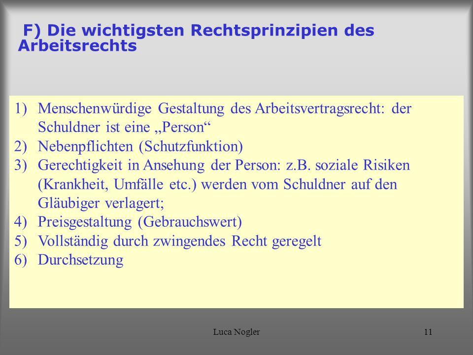 F) Die wichtigsten Rechtsprinzipien des Arbeitsrechts