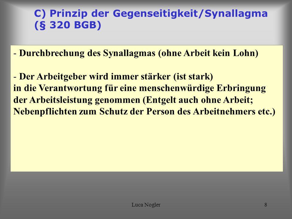C) Prinzip der Gegenseitigkeit/Synallagma (§ 320 BGB)