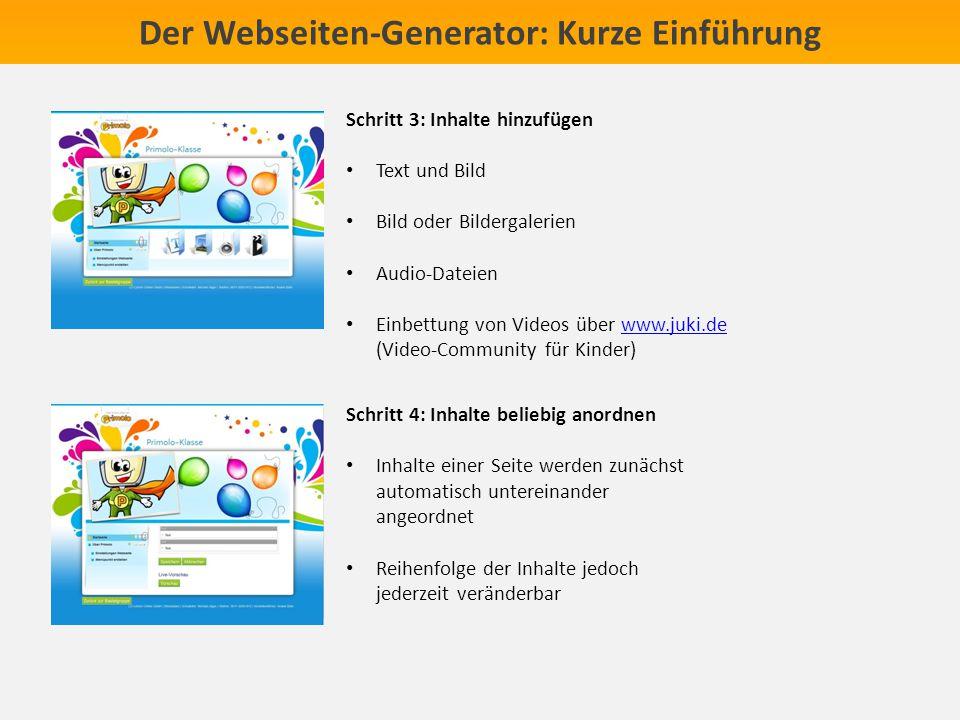 Der Webseiten-Generator: Kurze Einführung