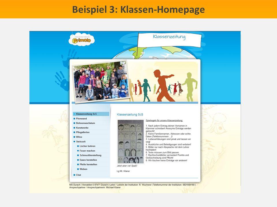 Beispiel 3: Klassen-Homepage
