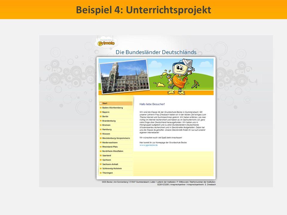 Beispiel 4: Unterrichtsprojekt