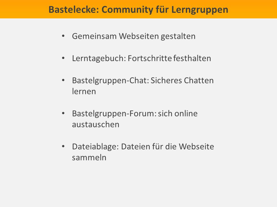 Bastelecke: Community für Lerngruppen