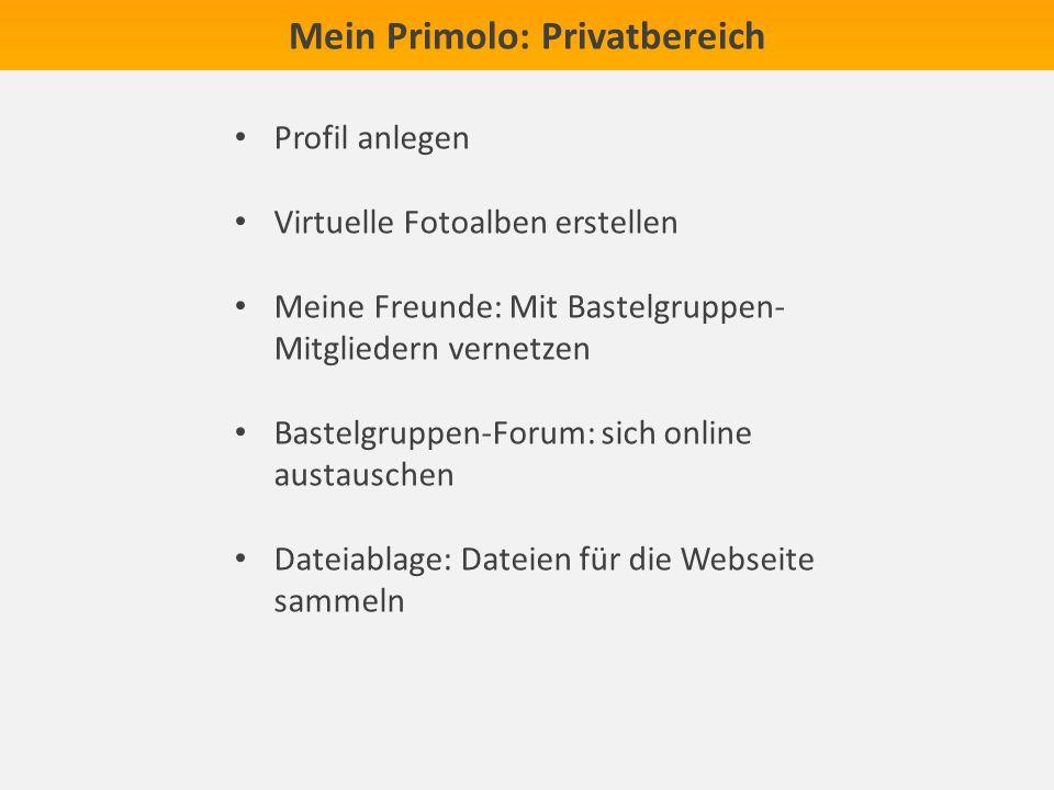 Mein Primolo: Privatbereich