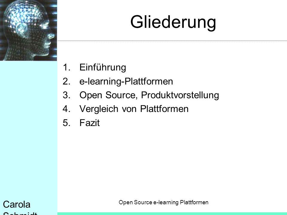 Gliederung Einführung e-learning-Plattformen