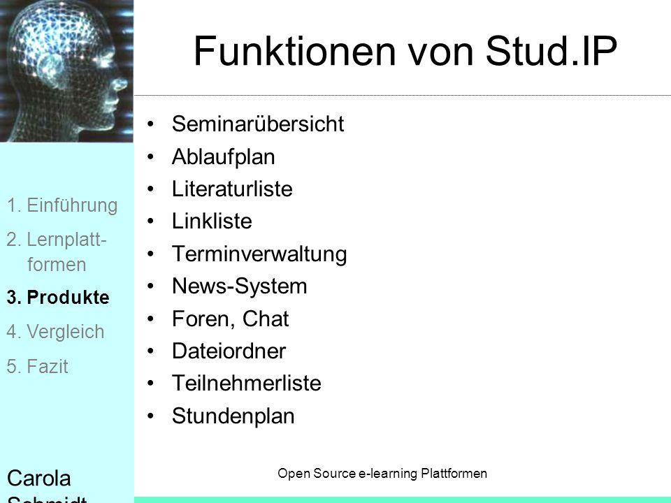 Funktionen von Stud.IP Seminarübersicht Ablaufplan Literaturliste