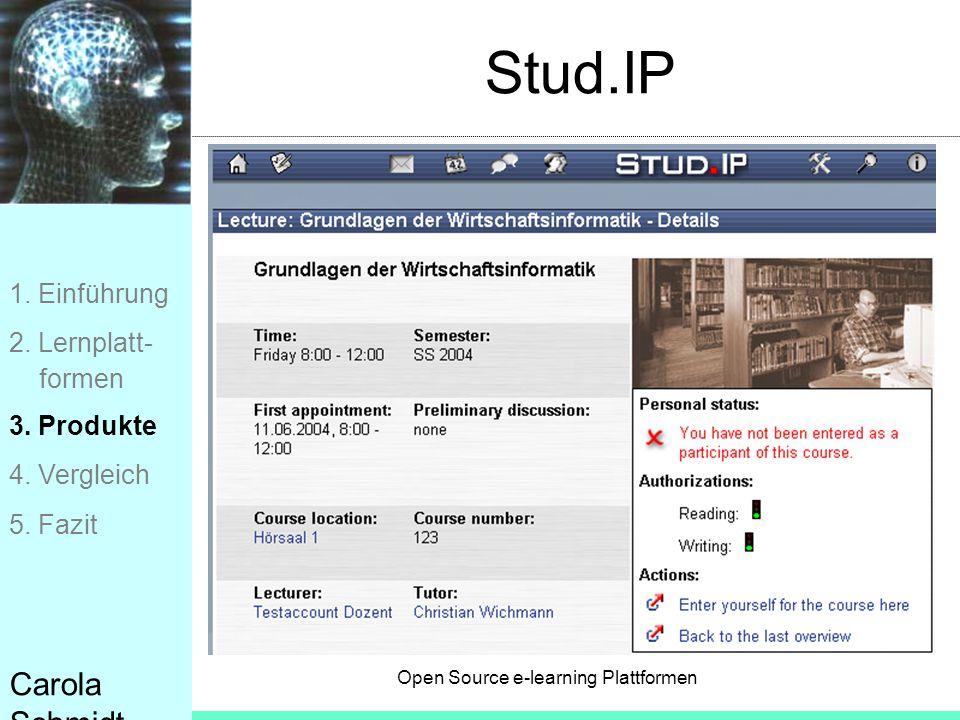 Stud.IP Carola Schmidt 1. Einführung 2. Lernplatt- formen 3. Produkte