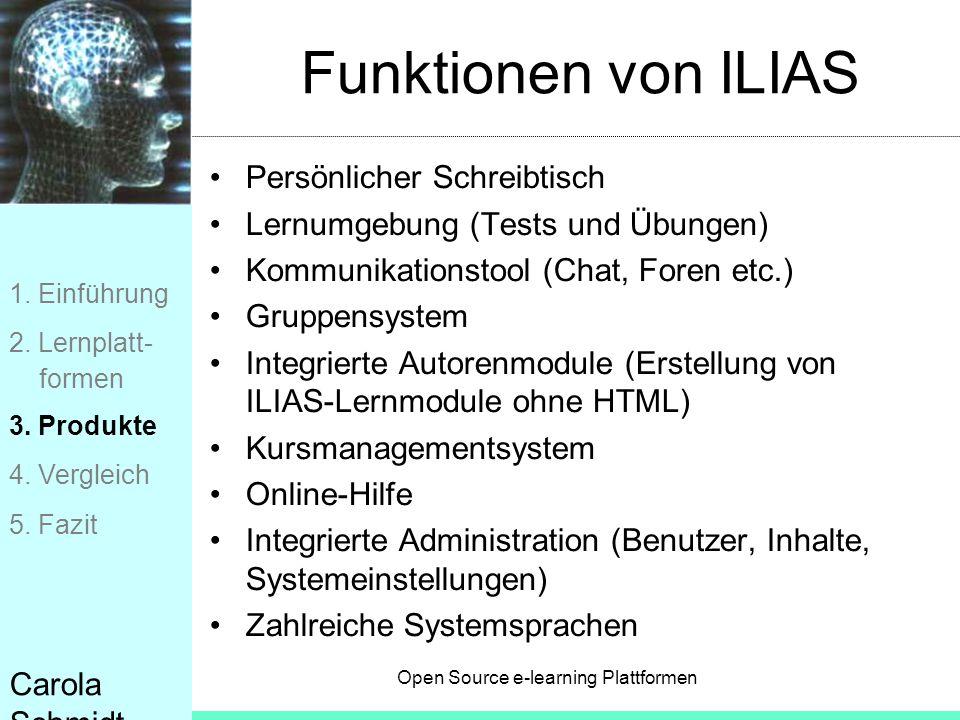 Funktionen von ILIAS Persönlicher Schreibtisch