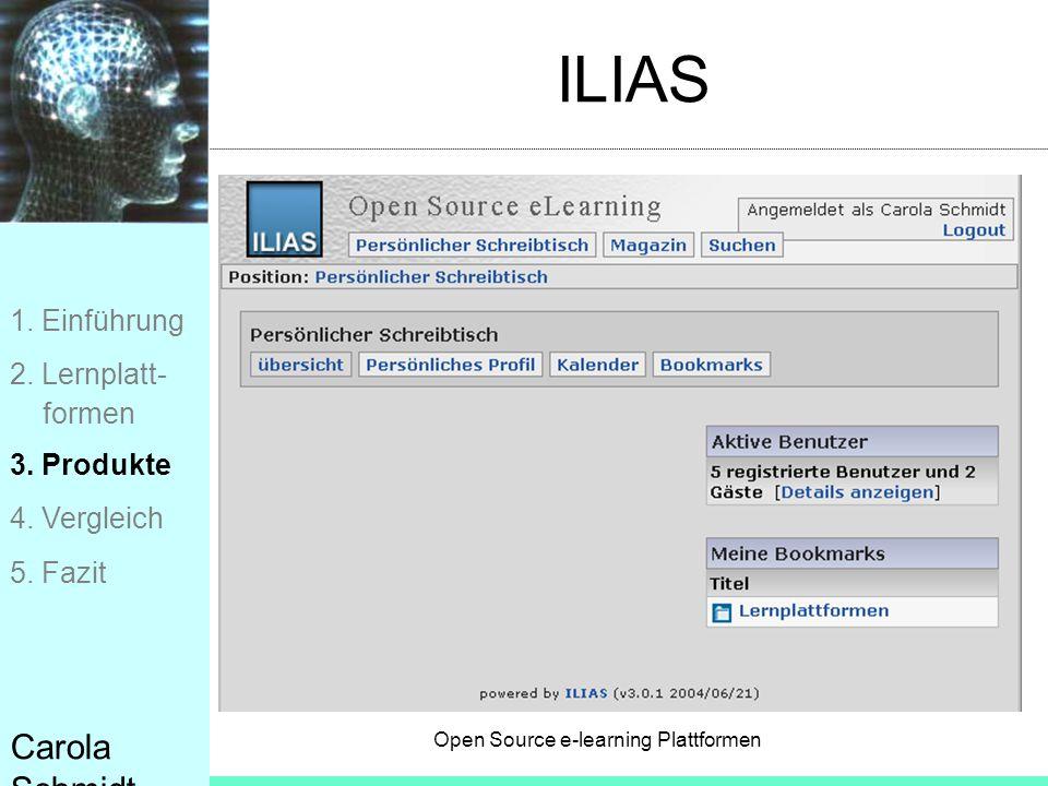 ILIAS Carola Schmidt 1. Einführung 2. Lernplatt- formen 3. Produkte