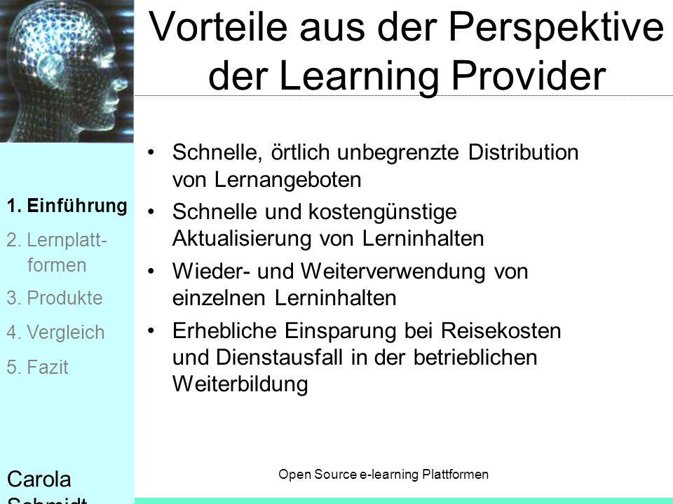 Vorteile aus der Perspektive der Learning Provider