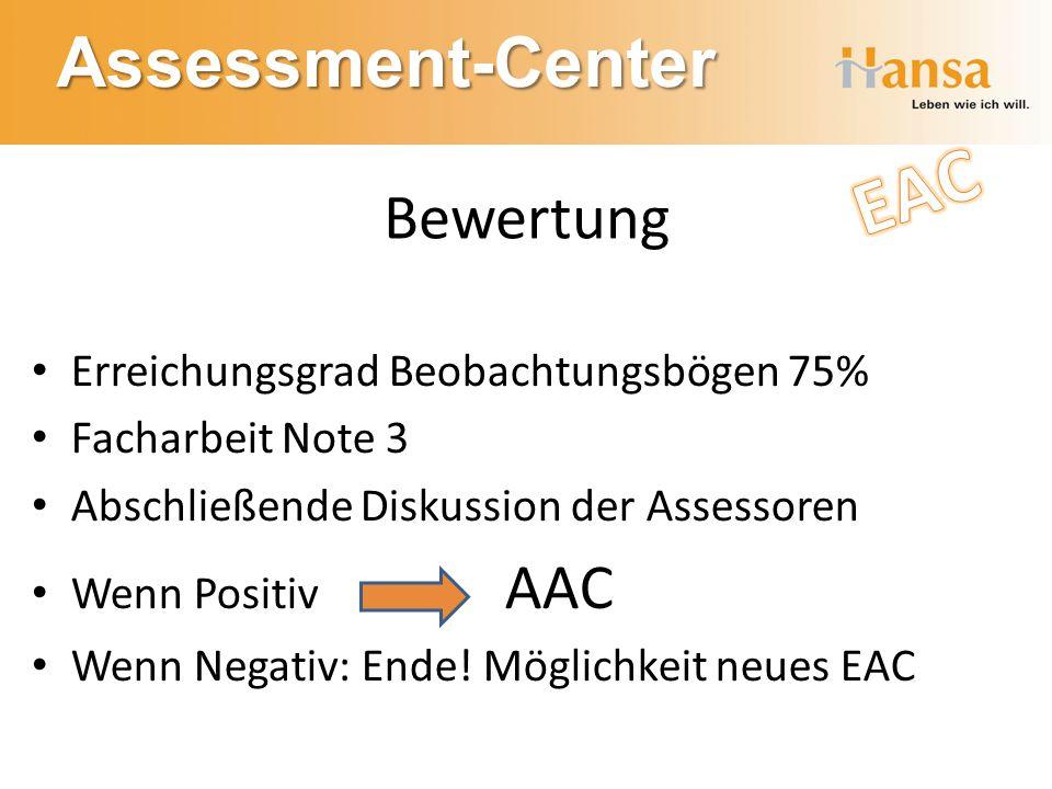 EAC Bewertung Erreichungsgrad Beobachtungsbögen 75% Facharbeit Note 3