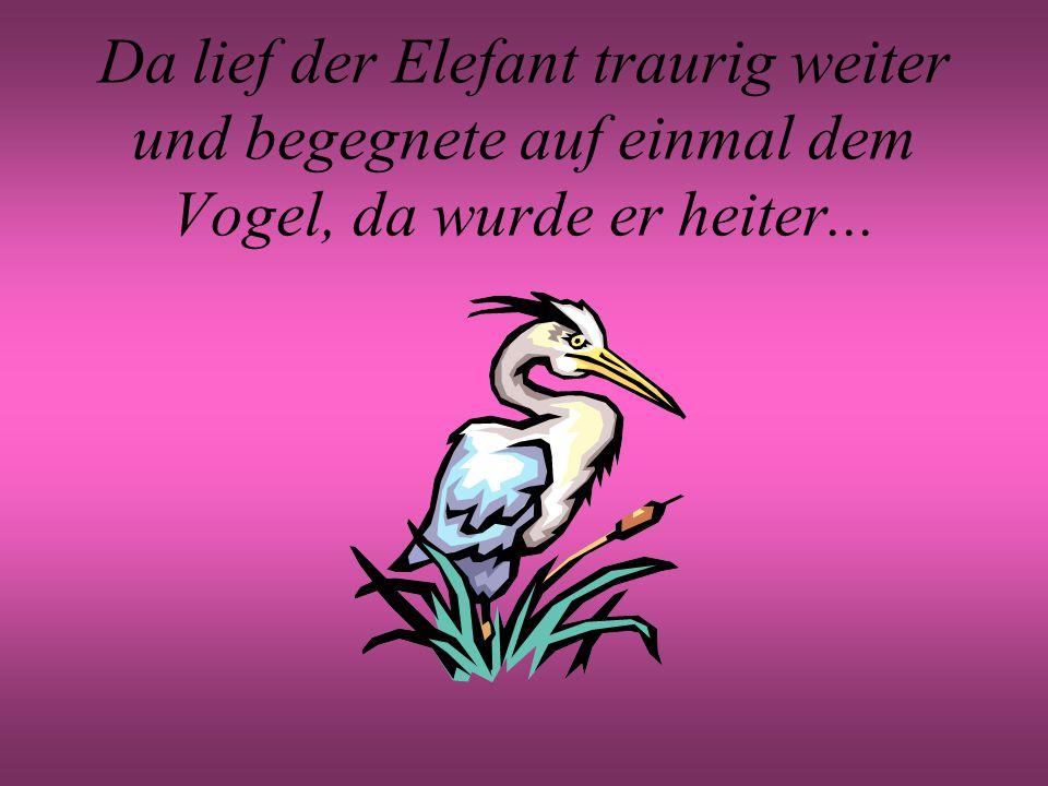 Da lief der Elefant traurig weiter und begegnete auf einmal dem Vogel, da wurde er heiter...