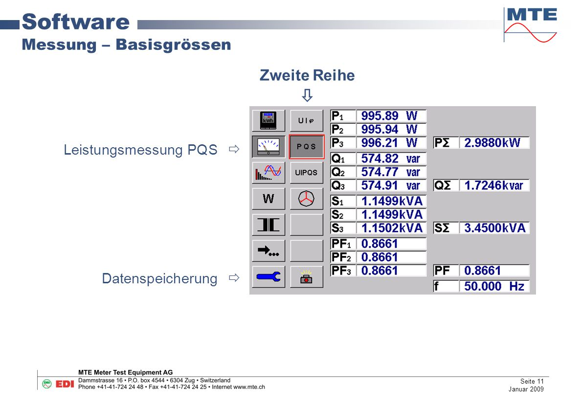 Software Messung – Basisgrössen Zweite Reihe  Leistungsmessung PQS 