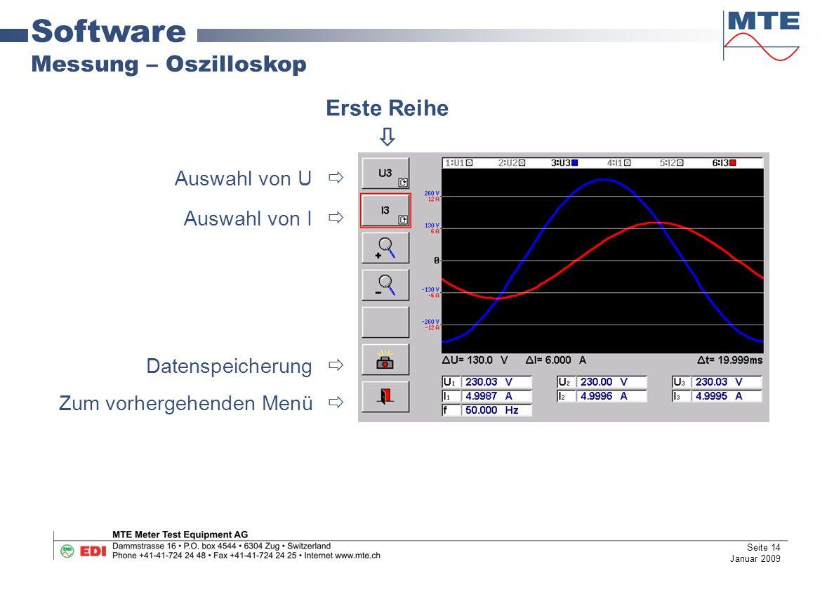 Software Messung – Oszilloskop Erste Reihe  Auswahl von U 