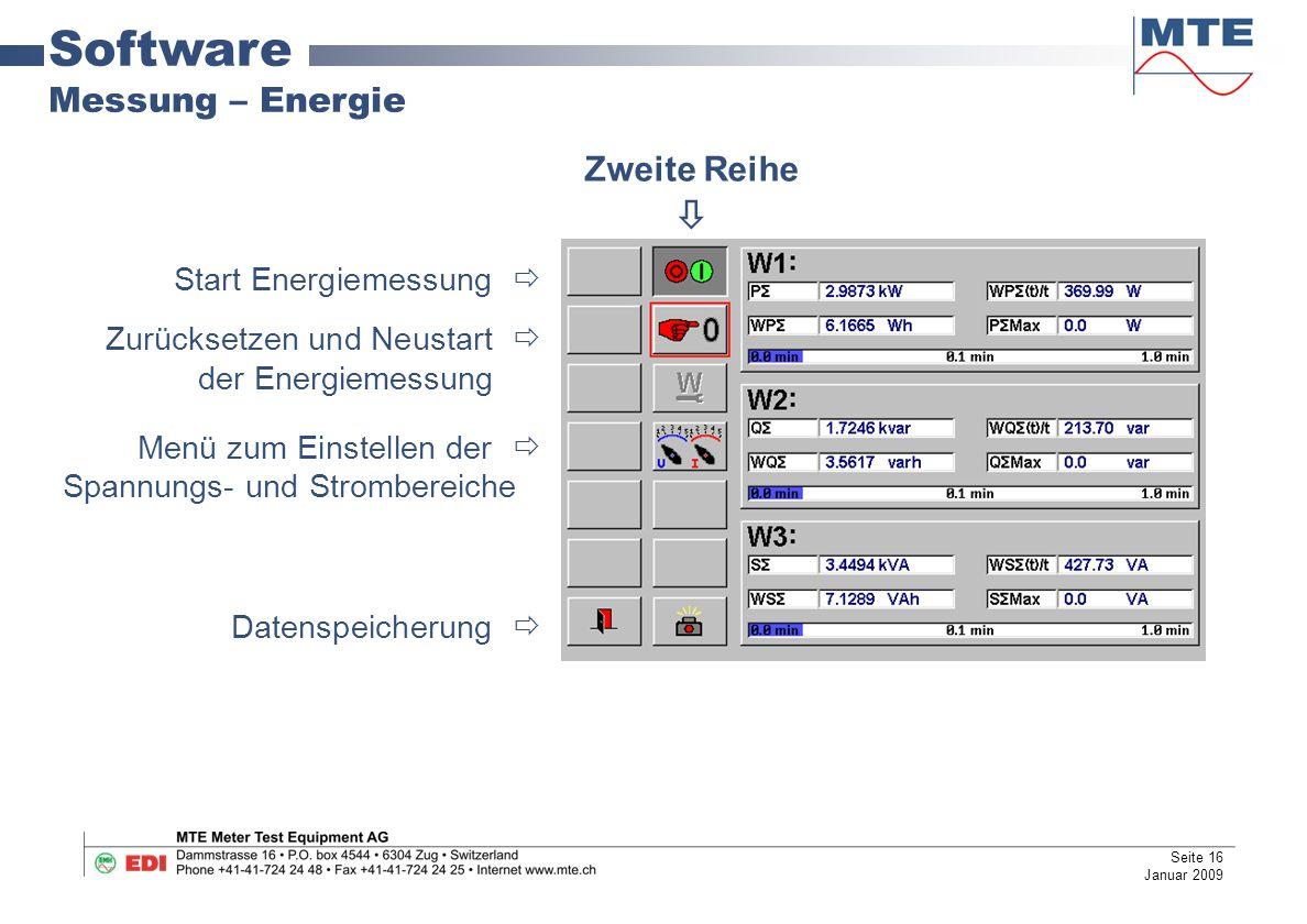 Software Messung – Energie Zweite Reihe  Start Energiemessung 