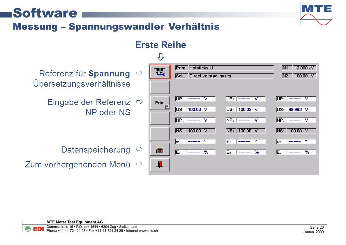 Software Messung – Spannungswandler Verhältnis Erste Reihe 