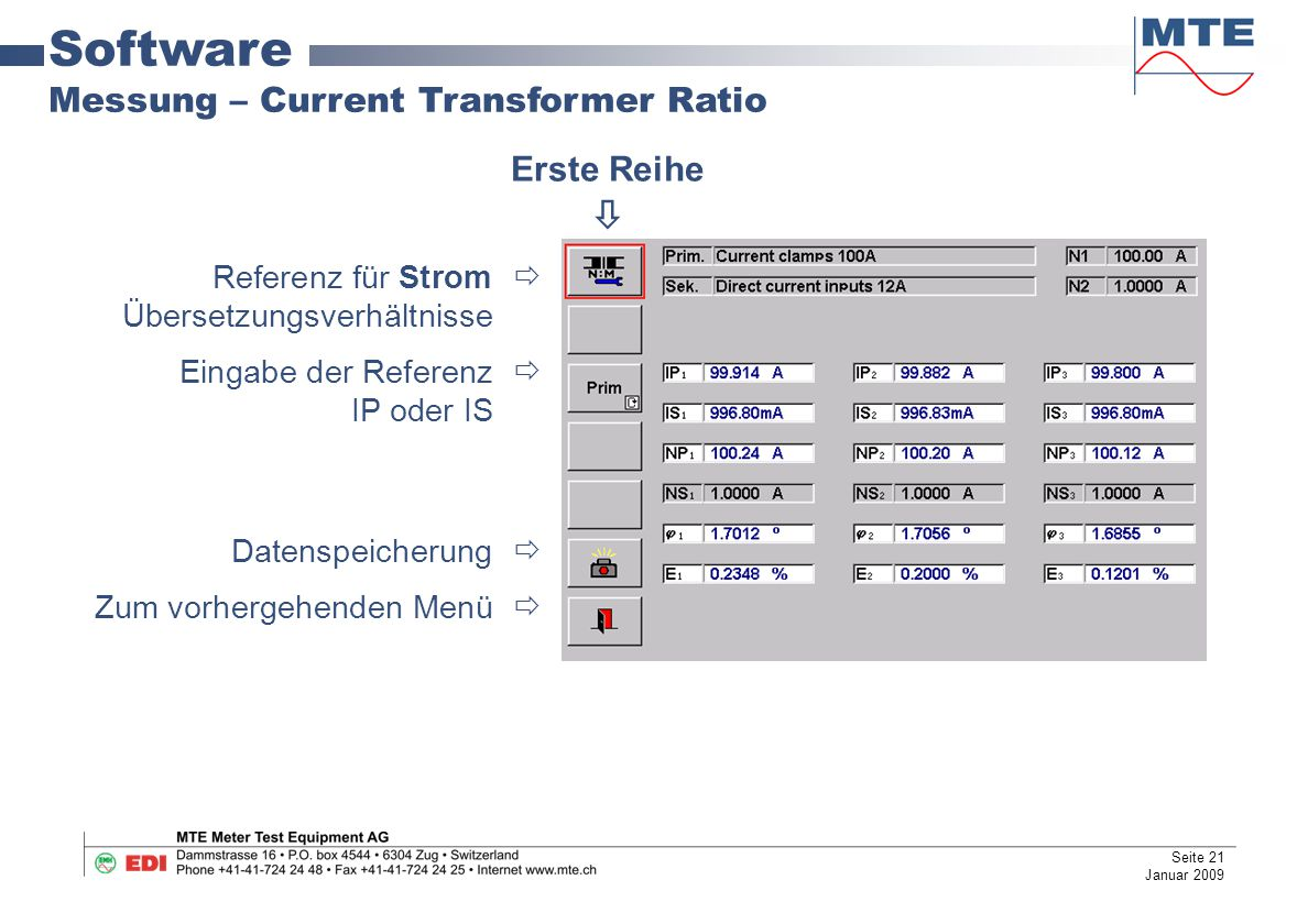 Software Messung – Current Transformer Ratio Erste Reihe 