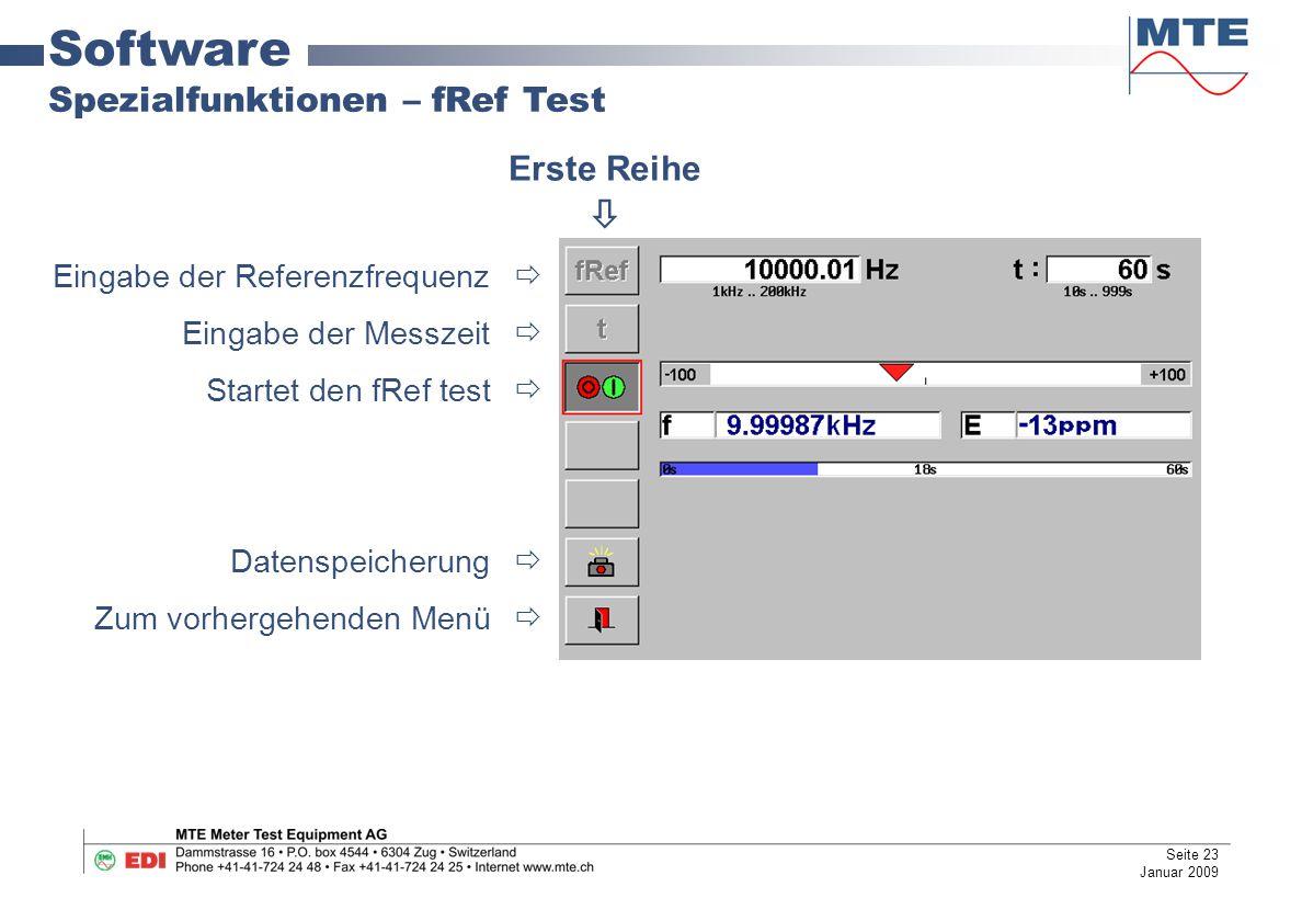 Software Spezialfunktionen – fRef Test Erste Reihe 