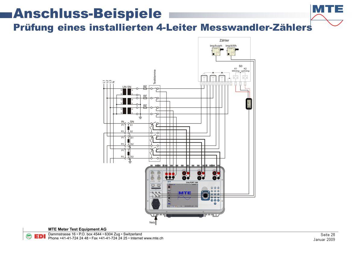 Anschluss-Beispiele Prüfung eines installierten 4-Leiter Messwandler-Zählers