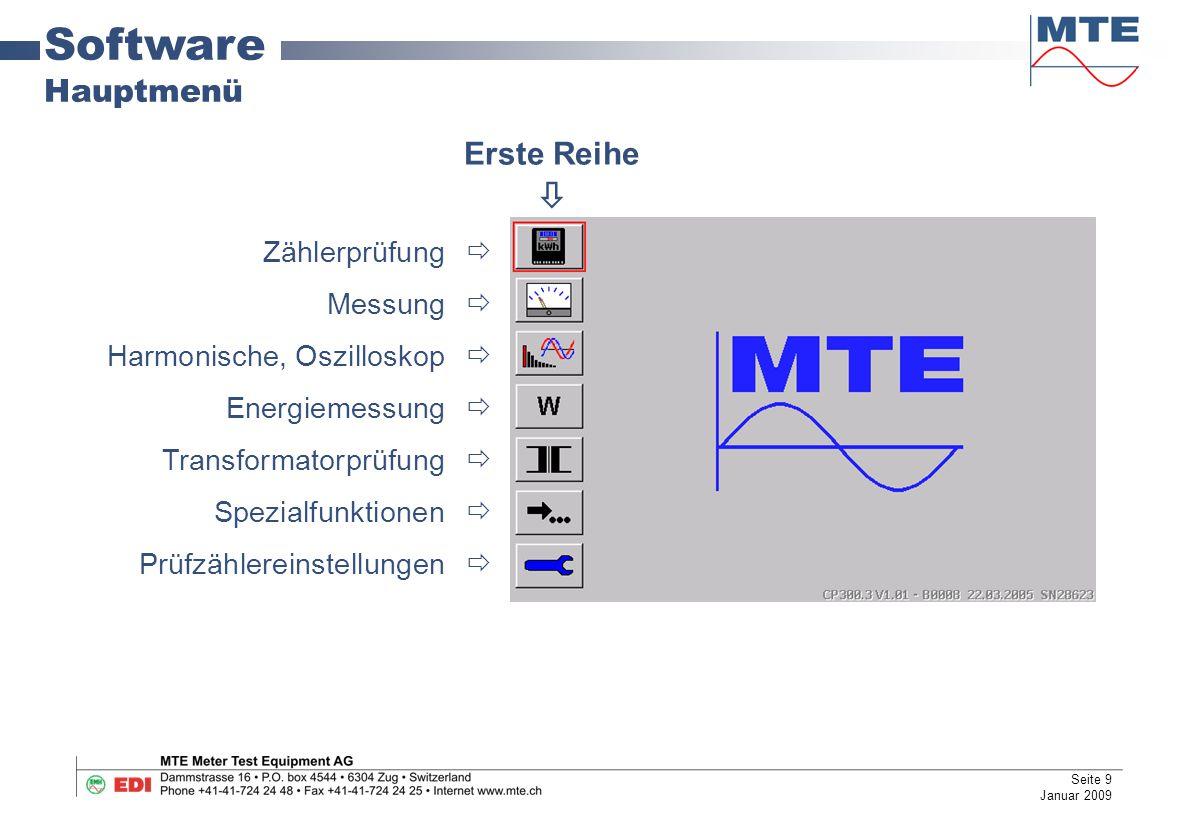 Software Hauptmenü Erste Reihe  Zählerprüfung  Messung 