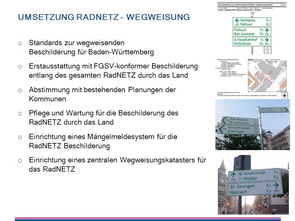 Umsetzung RadNETZ - Wegweisung