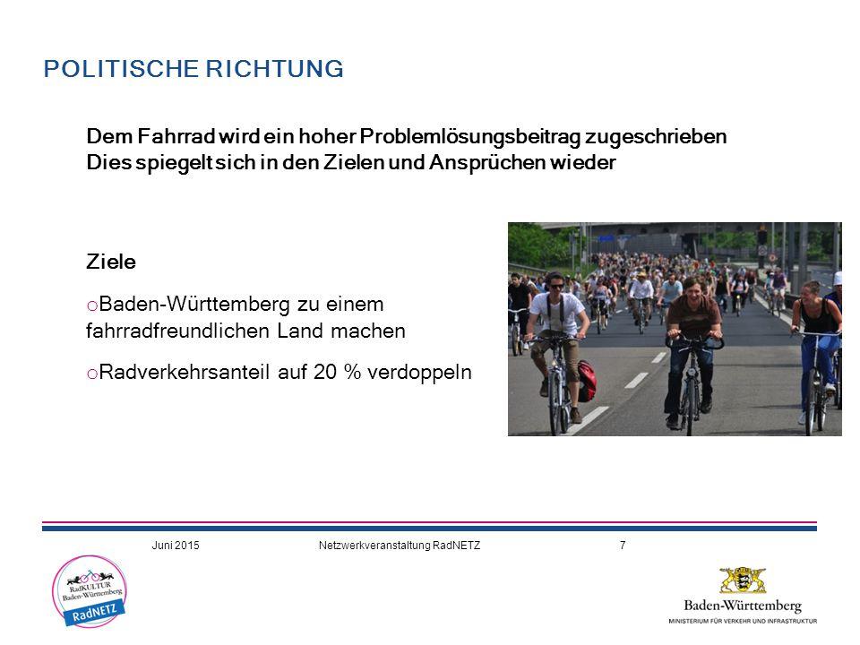 18.04.2017 POLITISCHE RICHTUNG. Dem Fahrrad wird ein hoher Problemlösungsbeitrag zugeschrieben.