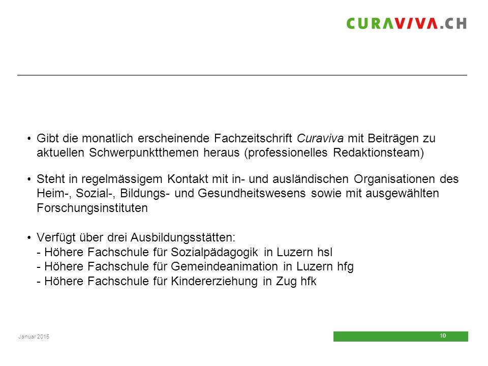 Gibt die monatlich erscheinende Fachzeitschrift Curaviva mit Beiträgen zu aktuellen Schwerpunktthemen heraus (professionelles Redaktionsteam)
