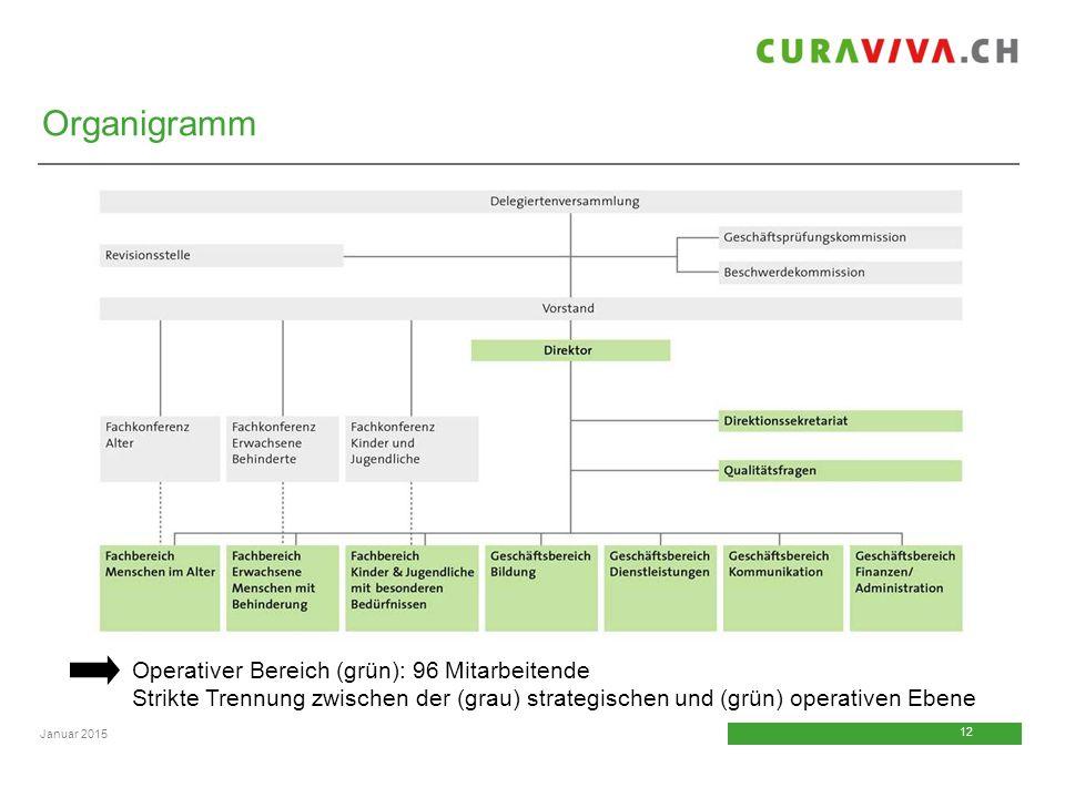 Organigramm Operativer Bereich (grün): 96 Mitarbeitende Strikte Trennung zwischen der (grau) strategischen und (grün) operativen Ebene.
