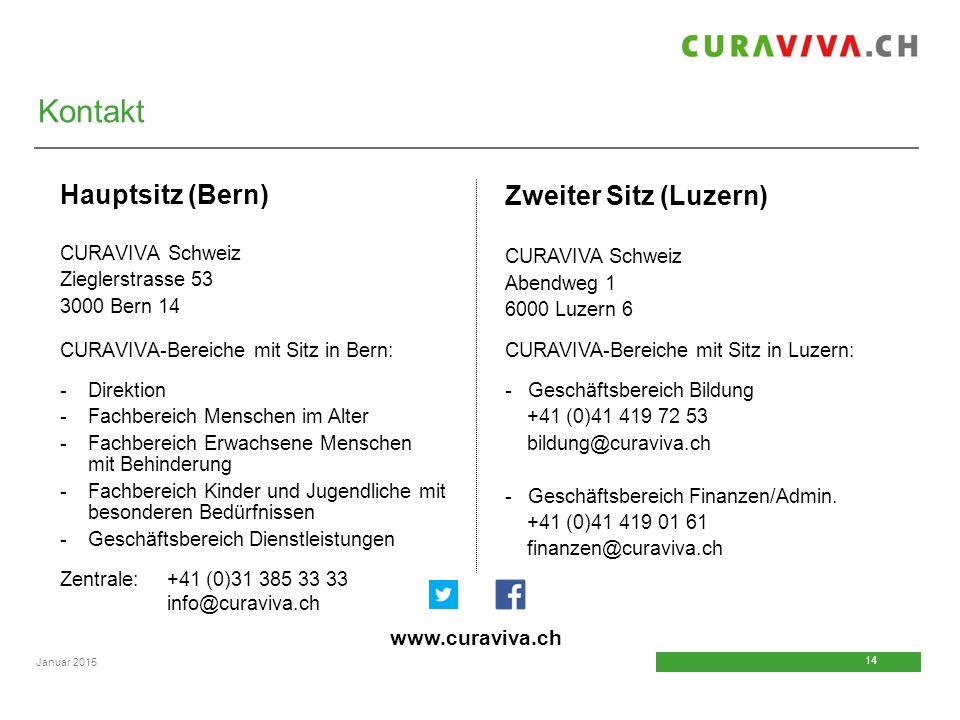 Kontakt Zweiter Sitz (Luzern) Hauptsitz (Bern) www.curaviva.ch