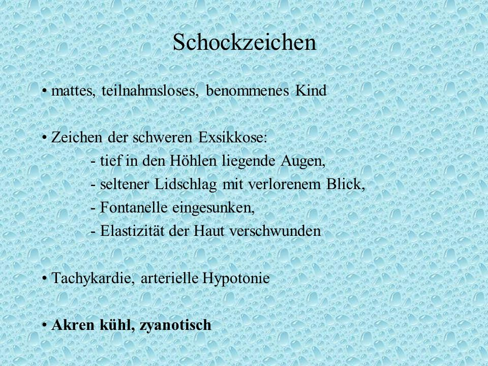 Schockzeichen • mattes, teilnahmsloses, benommenes Kind